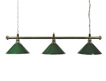 3-Shade Brass Lighting Bar and Green Shades